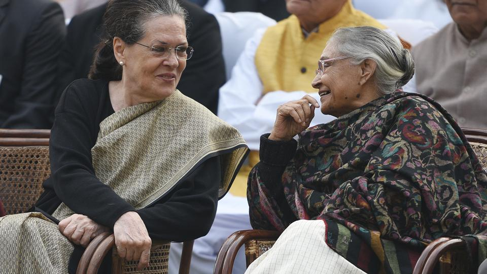 File photo of UPA chairperson Sonia Gandhi with formerDelhi CM Sheila Dikshit. Dikshit was appointed as Delhi Congress chief on January 10, 2019.