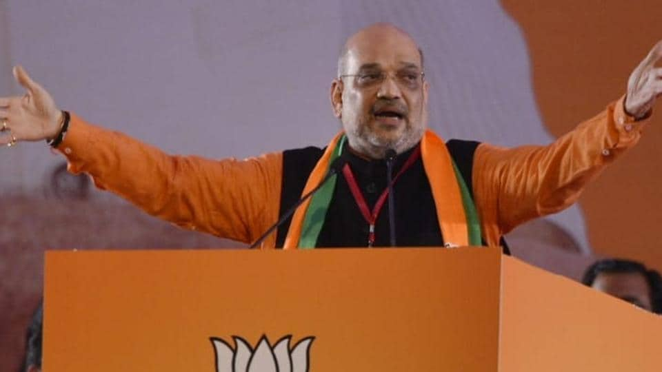 Amit Shah speaks in BJP national council meet in New Delhi.