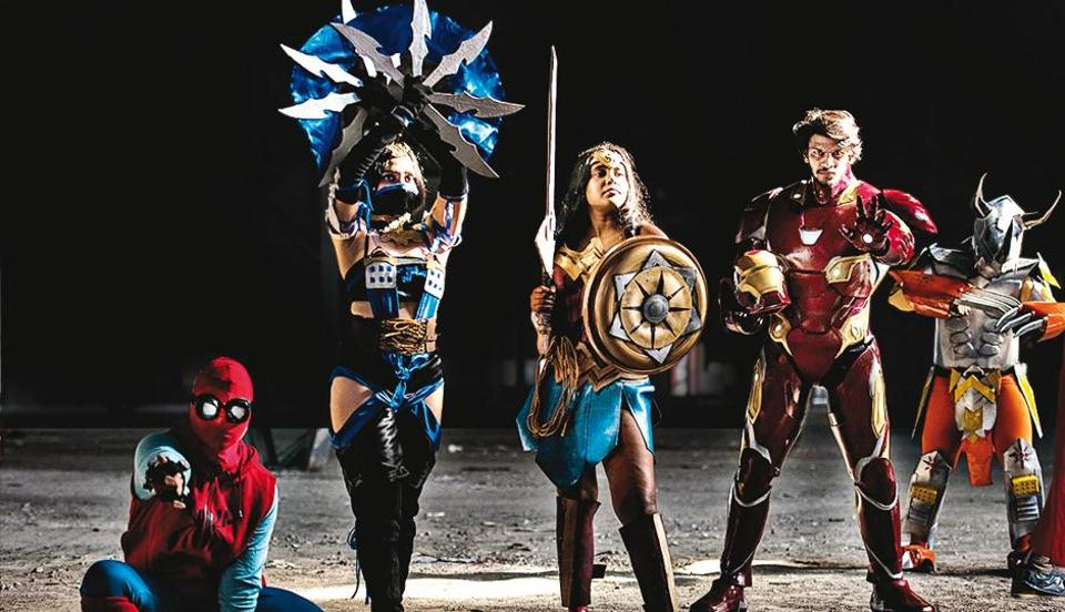 (From left) Cosplayers playing Spider-Man (Soumya Sharan), Kitana (Vanna Calista Da'costa), Wonder Woman (Srishti Chandra), Iron Man (Jeet Molankar), Wargreymon (Saqlain Ansari) at the Mumbai Comic Con 2018