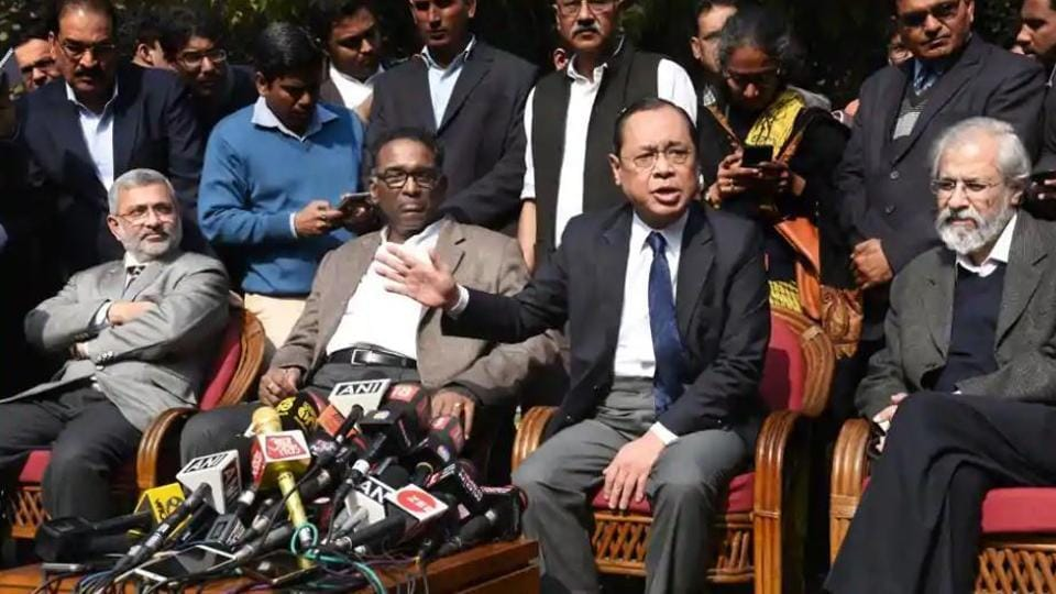 On January 12, 2018, Supreme Court judges ( L-R ) Kurian Joseph, J Chelameswar, Ranjan Gogoi and MB Lokur called a press conference in New Delhi.