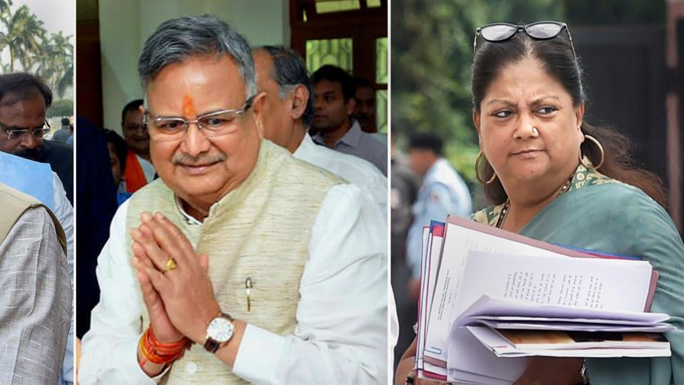 Former Chief Ministers Chhattisgarh's Raman Singh and Rajasthan's Vasundhara Raje appointed as BJP vice presidents ahead of Lok Sabha elections, in New Delhi on Jan 10.