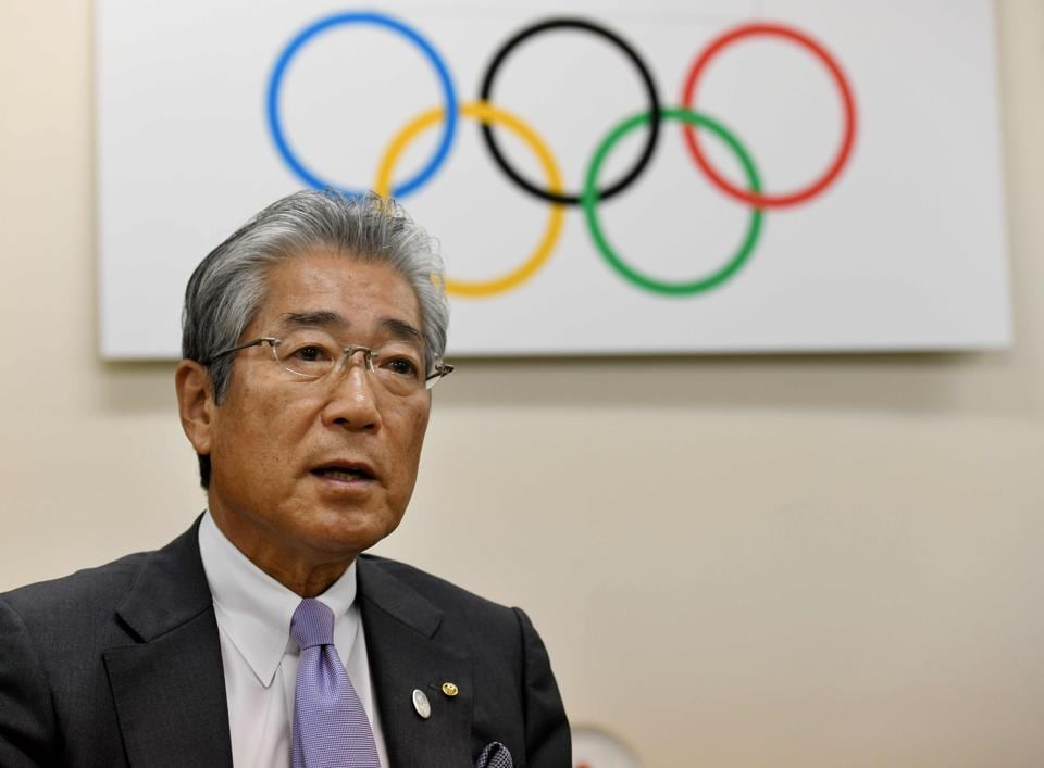 File photo of Japanese Olympic Committee president Tsunekazu Takeda speaking during an interview with AFP.