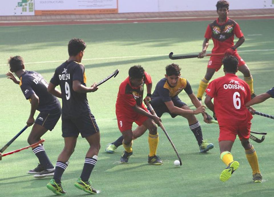 Completing the line-up in the boys under-17 semi- finals of the Khelo India Youth Games hockey tournament at the Mahindra Hockey Stadium were Uttar Pradesh and Odisha who also had easy closing pool engagements. In Pool B, Punjab thrashed Jharkhand 9-4 and Haryana overpowered Chandigarh 4-0. In Pool A Uttar Pradesh put it across Maharashtra 5-3 and Odisha downed Delhi 3-1 . (HT PHOTO)