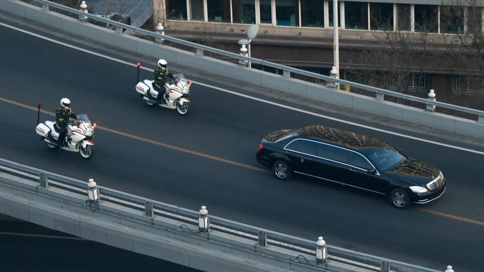 A vehicle in the motorcade of North Korean leader Kim Jong Un is seen in Beijing. Un arrived on January 8 on an unannounced visit to Beijing for talks with President Xi Jinping, as preparations ramp up for an expected second summit with Donald Trump. (Stringer / AFP)