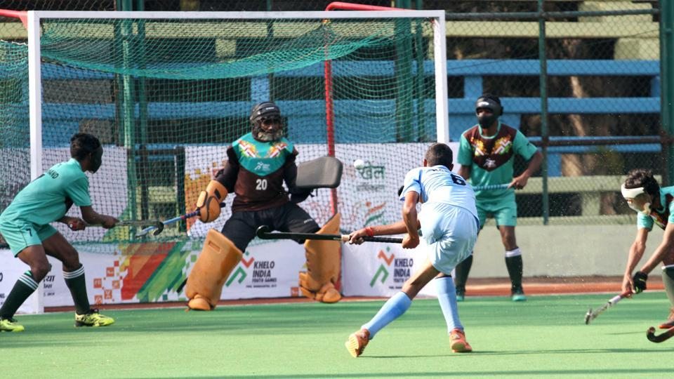 Khelo India Youth Games - Action during the Under 17 Men - Hockey match between Haryana (Blue jersey) and Jharkhand on Wednesday 09-01-2019