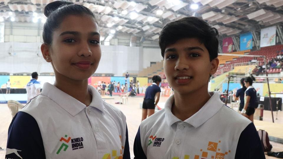 The 15-year-old twins, who hail from Aurangabad, first showed their class in the all round event on Day 1 with Siddhi winning silver and Riddhi clinching the gold medal. On Day 2, the duo clinched two more medals with Siddhi winning gold in uneven bars, while Riddhi won bronze in the beam event. (HT PHOTO)