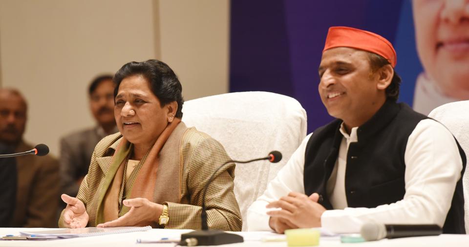Bahujan Samaj Party chief Mayawati and Samajwadi Party president Akhilesh Yadav during a joint press conference, in Lucknow.