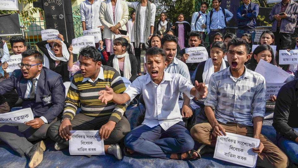 Guwahati: Guwahati Commerce College students stage a protest and raise slogans against Citizenship (Amendment) Bill, in Guwahati, Friday, Jan 11, 2019. (PTI Photo) (PTI1_11_2019_000064A)