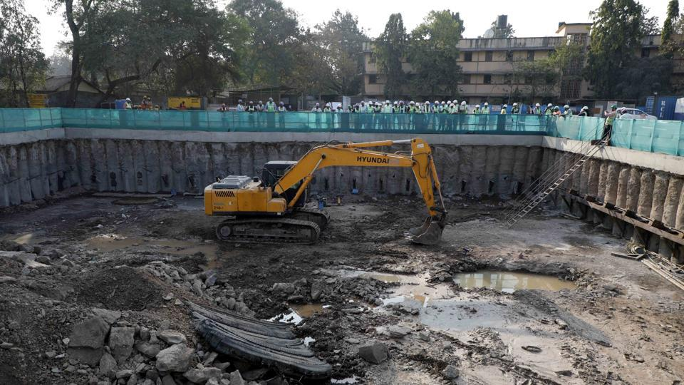Maha-Metro officials showed the progress of underground metro work to the media persons at Swargate on Friday.