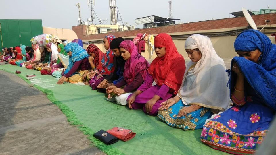 Around 60 Musilm women workers offered namaz on the rooftop of a factory in Noida sector 64 on Friday.