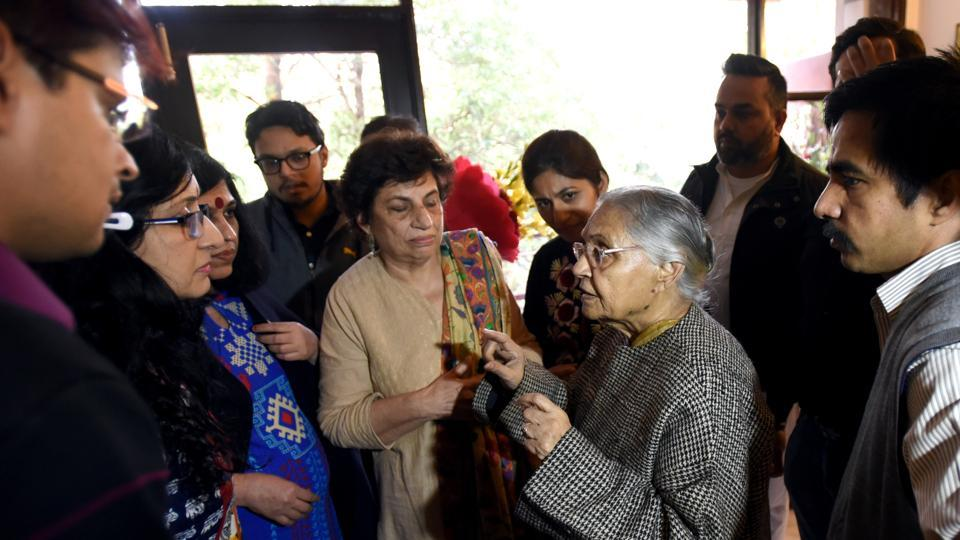 Newly-appointed Delhi Congress President Sheila Dikshit greeted by her supporters at her residence in New Delhi, India, on Friday, January 11, 2019.