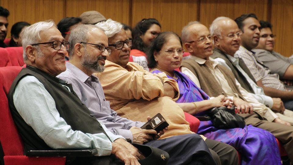 From Left: Mohan Agashe, Bhupendra Kainthola, Satish Jakatdar and audiences at National Film Archive of India during the inauguration of 8th Asian Film Festival, 2018.