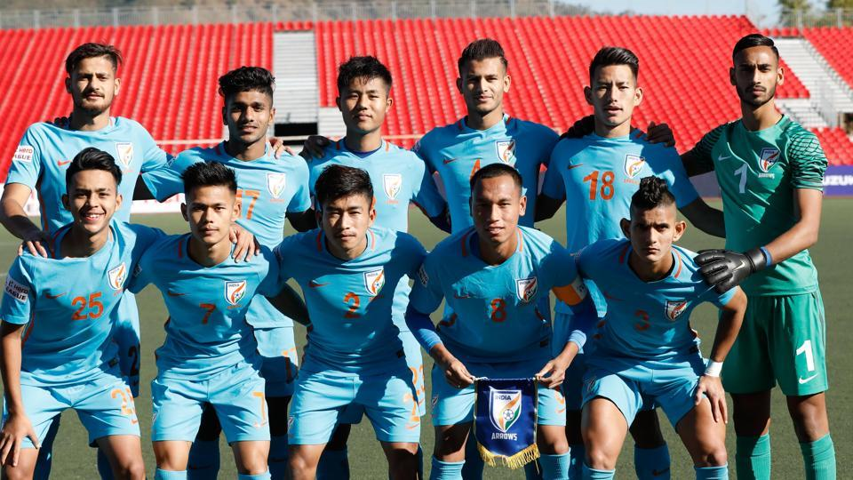 File image of players of Indian Arrows football club posing for a photo.