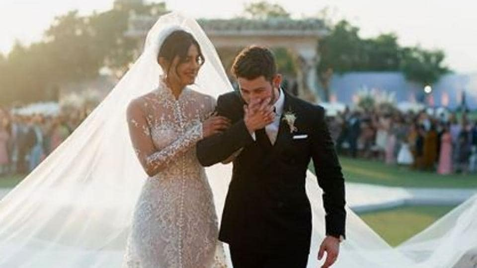 Priyanka Chopra and Nick Jonas during their December 1 wedding in Jodhpur.