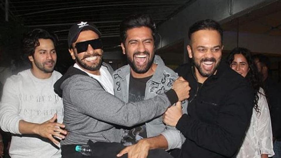 Varun Dhawan, Ranveer Singh, Vicky Kaushal, Rohit Shetty and Katrina Kaif react at the screening of Uri in Mumbai.