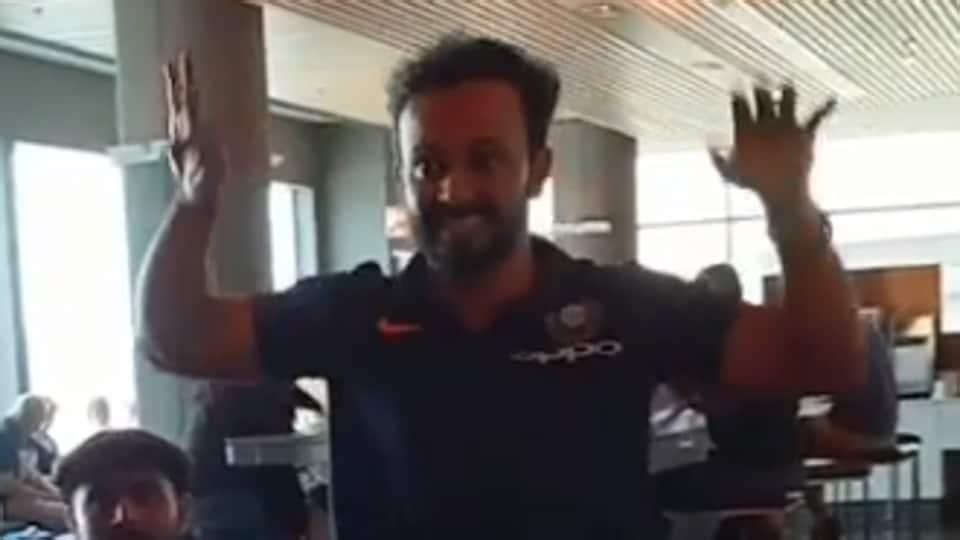 Kedar Jadhav shows his dance moves at an airport.