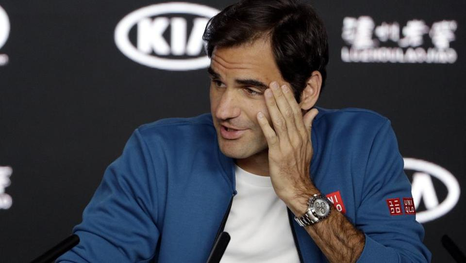 Men's defending singles champion Switzerland's Roger Federer answers a question during a press conference at the Australian Open tennis championships in Melbourne, Australia, Sunday, Jan. 13, 2019