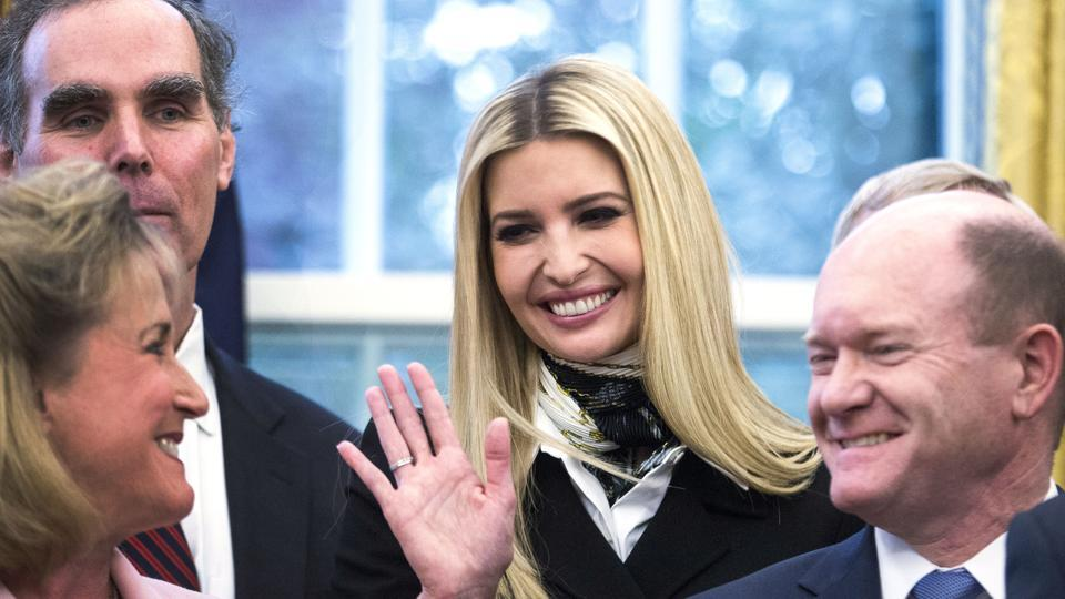 Ivanka Trump smiles during a signing ceremony for anti-human trafficking legislation with President Trump in the Oval Office at the White House in Washington, DC.