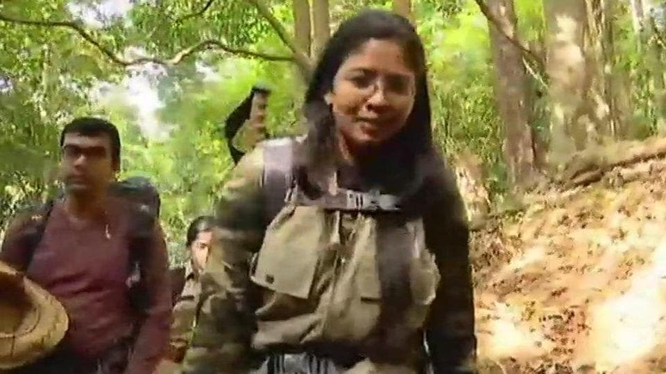 K Dhanya Sanal, spokesperson of the Defence Ministry in Thiruvananthapuram, becomes first woman trekking to Agasthyarkoodam peak after high court order.