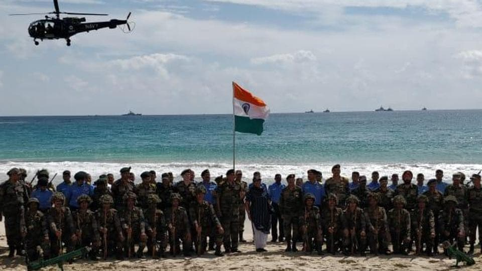 Nirmala Sitharaman inspects amphibious military drill by armed forces in Andaman and Nicobar
