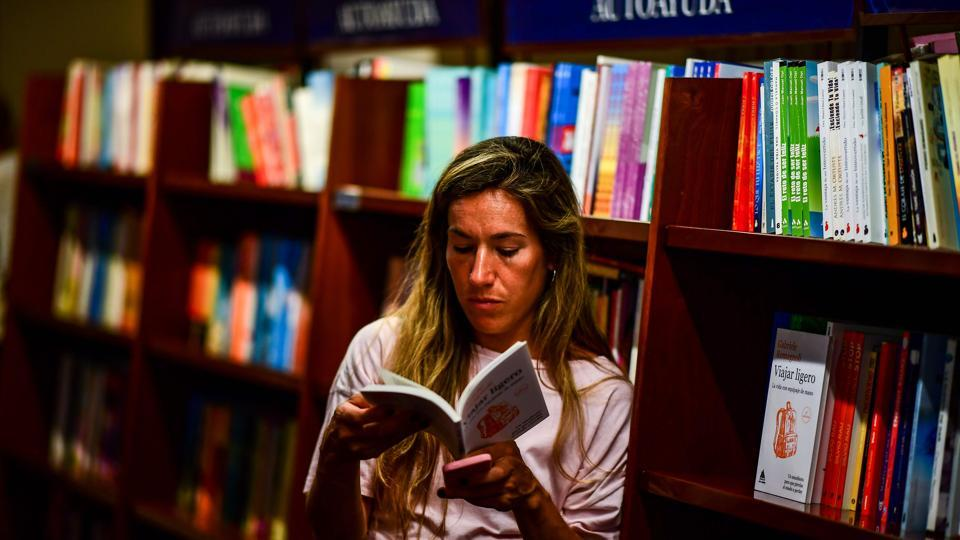 The Grand Splendid bookstore's extensive collection ranges from medicine to Argentine culture and Latin American art to Classical music. The bookstore houses the largest collection of books in Spanish in the country but has a surprisingly small English section at just 4,000 titles. (Ronaldo Schemidt / AFP)
