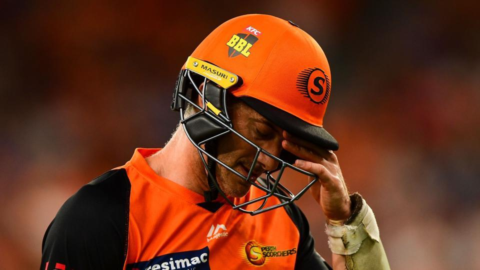 Michael Klinger of the Scorchers leaves the field after a reviewed decision during the Big Bash League match between the Perth Scorchers and the Sydney Sixers