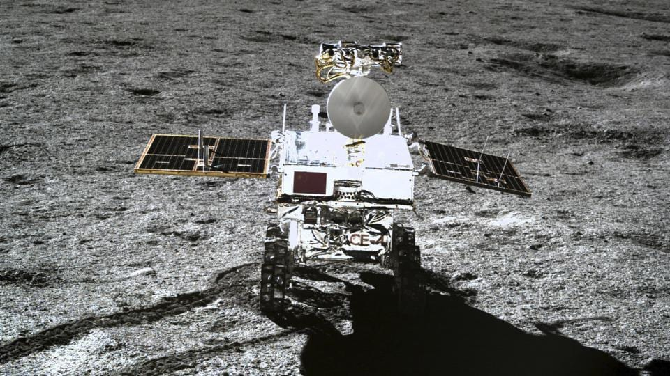 The rover Yutu-2 is seen in a photo taken by the lander of the Chang'e-4 probe on Jan. 11, 2019.