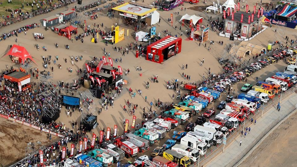 A general view of the departure ceremony of the 41st edition of the Dakar Rally at the coast of Lima, Peru. The world's most gruelling off road race, was flagged off amid much fanfare at the capital city of Peru on January 06. (Carlos Jasso / REUTERS)