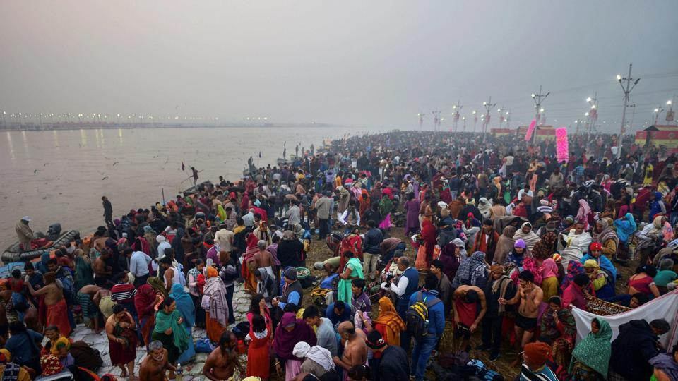 Devotees arrive to take a holy dip at Sangam, the confluence of the rivers Ganga, Yamuna and Saraswati, on the occasion of Makar Sankranti, in Prayagraj. The festival has different names in different states, even though it is celebrated on the same day. It is referred to as Pedda Panduga in Andhra Pradesh, Makar Sankranti in Karnataka, Magh Bihu in Assam, Magha Mela in parts of central and north India and Pongal in Tamil Nadu. (PTI)