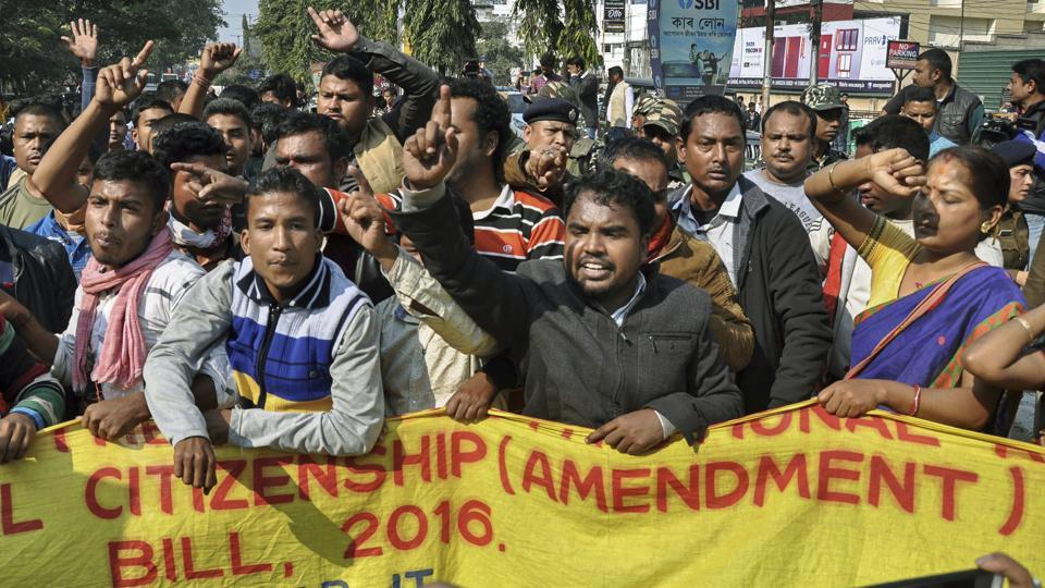 Activists of various indigenous organizations stage a protest rally in front of Assam Secretariat against the Citizenship (Amendment) Bill, 2016, in Guwahati on January 9.