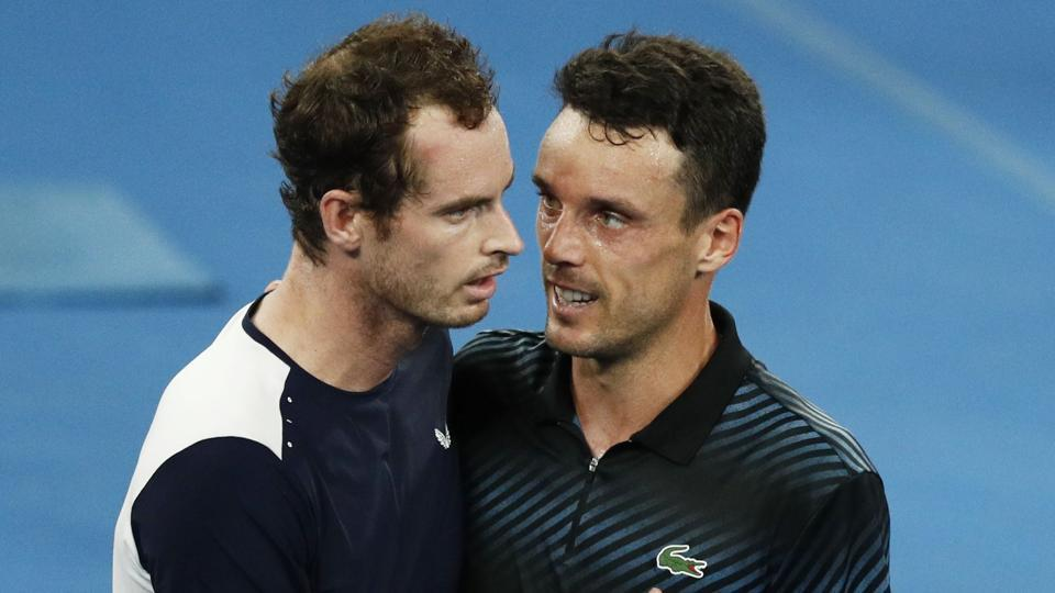 Britain's Andy Murray and Spain's Roberto Bautista Agut greet each other after the match.
