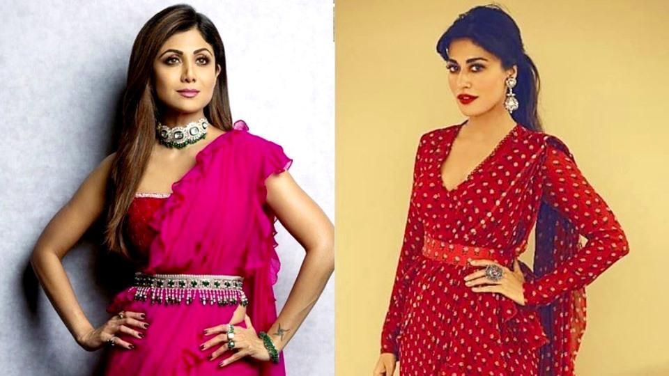 Shilpa Shetty's pink ruffle saree or Chitrandaga Singh's printed one, which one will you pick? (Instagram)