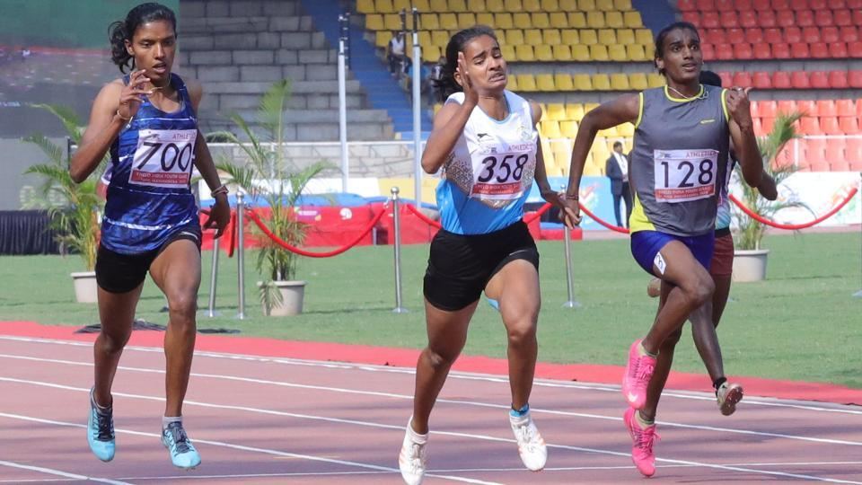 AT Daneshwari (Karnataka) in bob no 358, gold medal winner of 100m & 200m girls U-21 at Khelo India Youth Games (HT PHOTO)