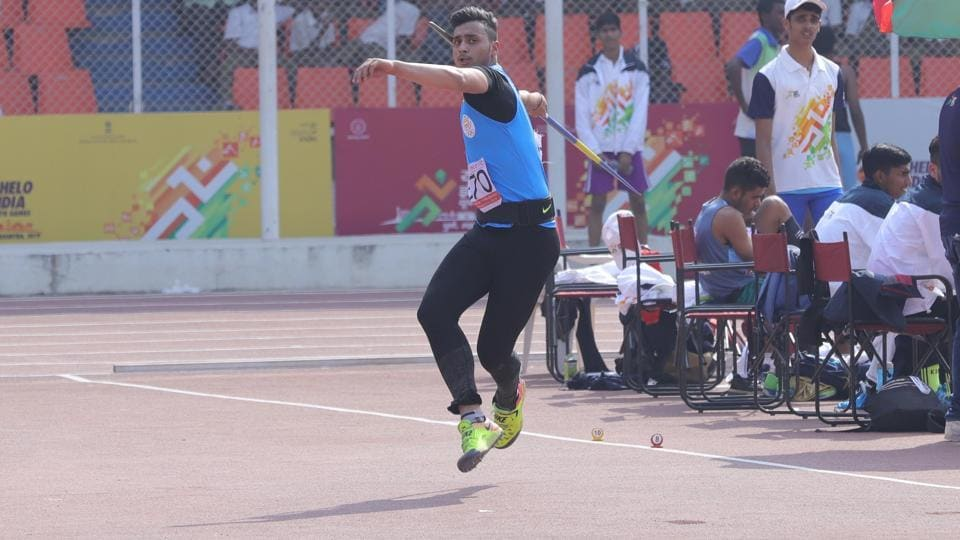 Punjab's Kunwer Ajai Raj Singh Rana, gold medal winner in Under-17 javelin throw at Khelo India Youth Games (HT PHOTO)