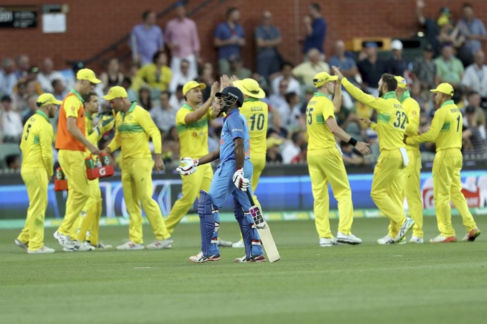 India's Ambati Rayudu loses his wicket against Australia during their one day international cricket match in Adelaide. (AP)