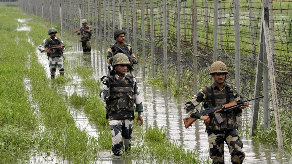 According to PTI, an officer of the Border Security Force (BSF) was killed on Tuesday in a sniper attack from across the border in Samba sector of Jammu and Kashmir. BSF officials said Assistant Commandant Vinay Prasad was hit by a bullet around 10:50 am when he and his party were patrolling along the International Border. (Nitin Kanotra / HT File)
