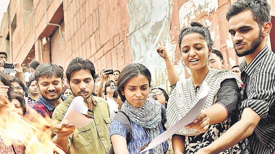 Kanhaiya Kumar, Umar Khalid and Shehla Rashid and other students during a protest event in April 2016.