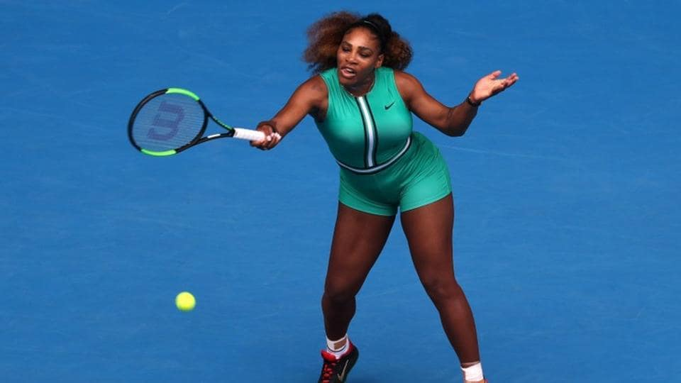 Serena Williams of the U.S. in action during the match against Germany's Tatjana Maria. REUTERS/Lucy Nicholson