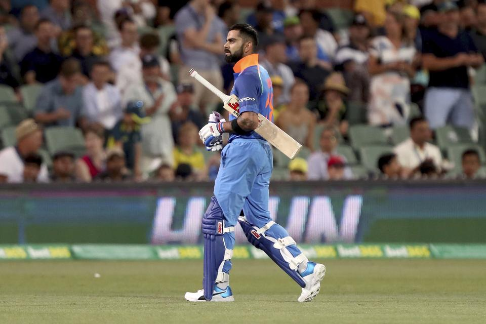 India's Virhat Kohli loses his wicket during their one day international cricket match against Australia in Adelaide. (AP)