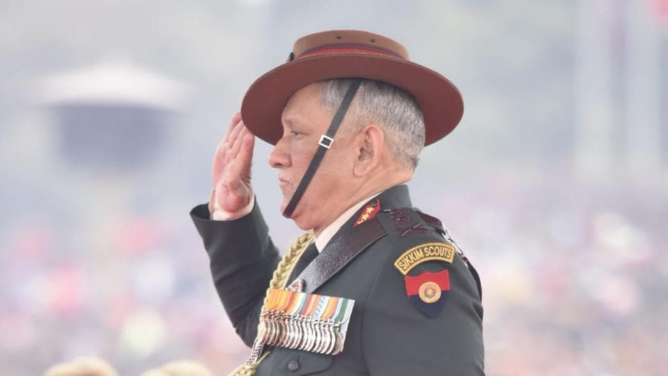 Army chief General Bipin Rawat takes the salute during the inspection of the guard of honour. 2019 marked the 71st occasion of Army Day. (Vipin Kumar / HT Photo)