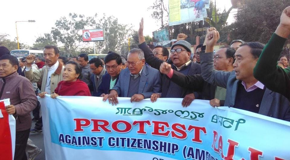 Representatives of nine political parties stage a protest against the Citizenship (Amendment)Bill in Imphal on Tuesday.