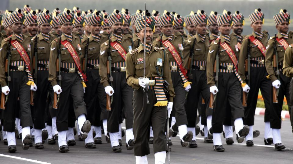A contingent of the Madras regiment of the Indian Army marches during the Army Day parade, at Cariappa Parade Ground, in New Delhi. Observed on January 15, Army Day marks the official handing over of the charge to then Lieutenant General K M Cariappa as the first Commander-in-Chief of the Indian Army. (Vipin Kumar / HT Photo)