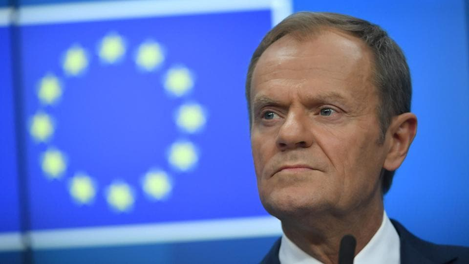 European Council President Donald Tusk holds a press conference after the European Council.