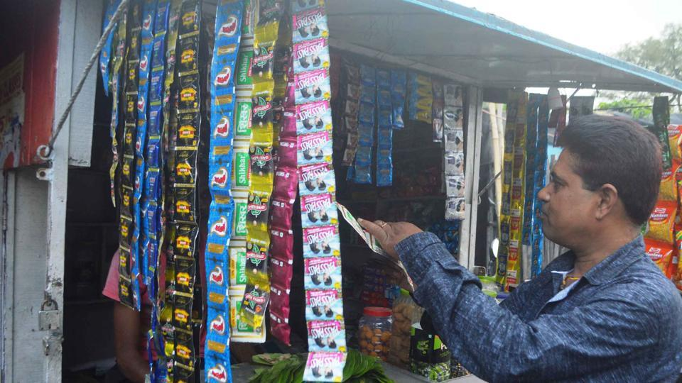 A shop selling tobacco products in Dhanbad.