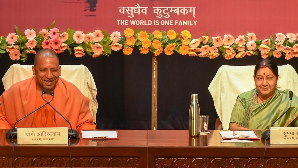Lucknow: External Affairs Minister Sushma Swaraj and Uttar Pradesh Chief Minister Yogi Adityanath address a joint press conference on Pravasi Bhartiya Diwas, in Lucknow, Wednesday, Jan. 16, 2019.
