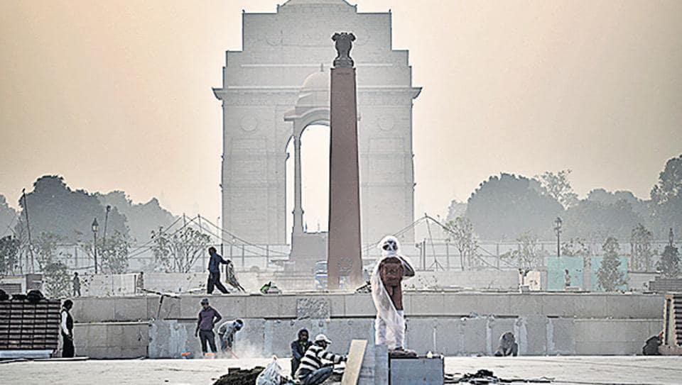 The under-construction National War Memorial in New Delhi.