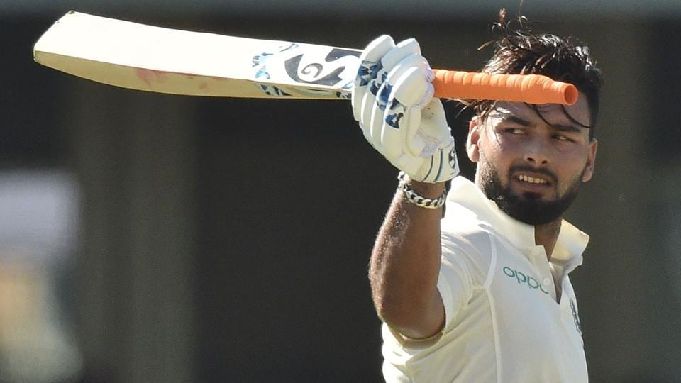 Rishabh Pant celebrates his 150 runs on the second day of the fourth and final Test against Australia.