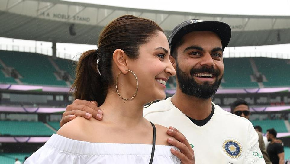 Virat Kohli celebrates with wife and actor Anushka Sharma after winning the Test series in this file picture.