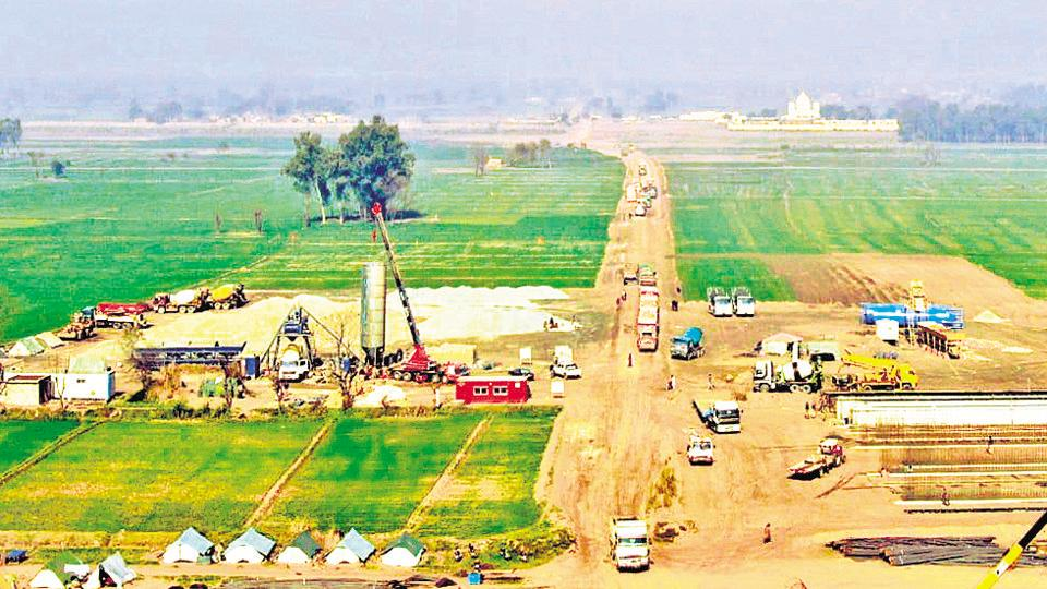 The ongoing constrution work on Kartarpur Corridor in Narowal district of Pakistan's Punjab province where Gurdwara Darbar Sahib is located.