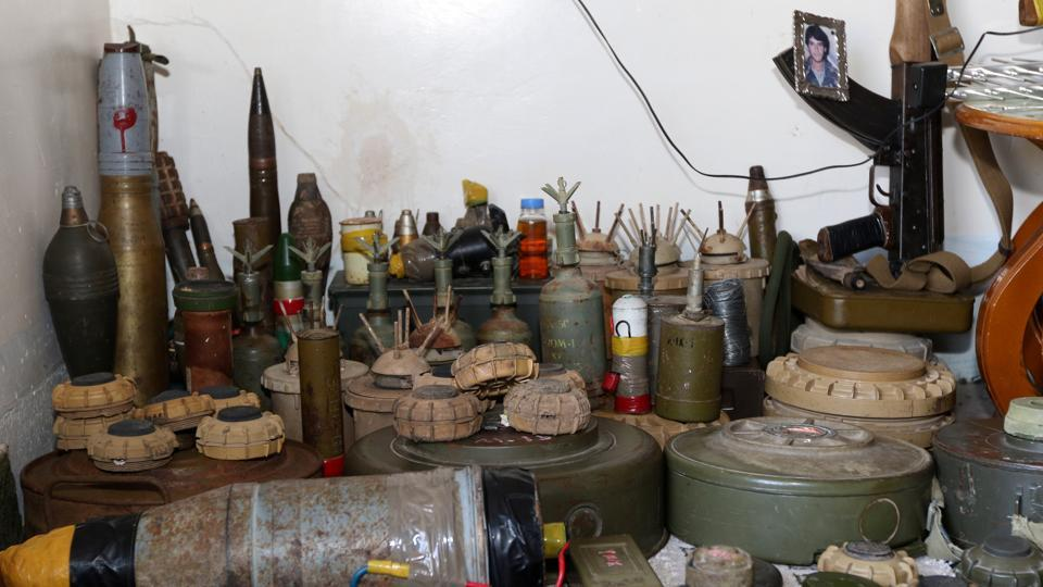 Deactivated mines are seen at Hoshyar Ali's home. Various reports estimate that Ali has over the years defused over a million mines in the region, a figure local authorities and Ali himself uphold, considering that he works nearly every single day. (Ako Rasheed / REUTERS)